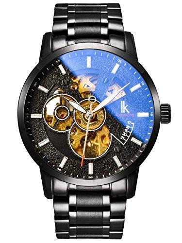 Alienwork Reloj Mecánico Automático Relojes Automáticos Hombre Mujer Acero Inoxidable Negro Analógicos Unisex Impermeable Esqueleto
