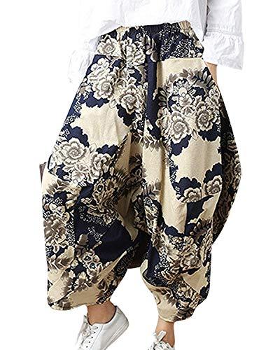 Mujer Pluderhose Verano Vintage Etnica Estilo Floreadas Pantalones De Linterna Anchos Casual Clásico Especial Hippie Pantalones Harem Pantalones Globo Pantalones Aladdin Mujeres