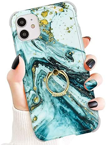 Newseego Compatible with iPhone 11 Case Cover 6 1 Inch with Diamond Ring Kickstand Glossy Marble product image