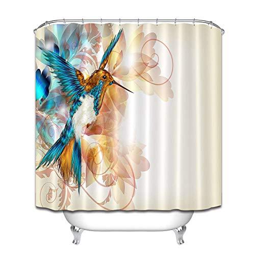 ZZZdz Vogel met open vleugels, decoratief douchegordijn, 180 x 180 cm, 12 haken, 3D-print, HD-print