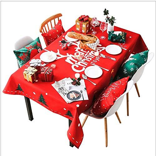 Kerstdag tafelkleed Nordic Stof waterdichte stof-plein Anti-broeien Disposable Oval Eettafel Cover Coffee Table (Color : Red, Size : 85 * 85cm)