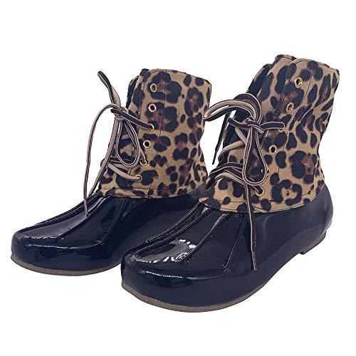 YUXUEKING regenlaarzen, dames mode halverwege kalf laarzen Lace-Up schoenen Luipaard regen schoeisel Lady'S Garden Ready schoenen vrouw grote maten Botines Mujer 2019