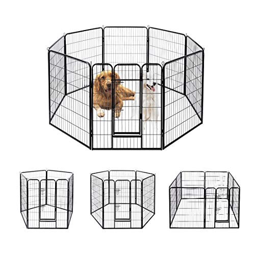 VIVOHOME Heavy Duty Foldable Metal Indoor Outdoor Exercise Pet Fence Barrier Playpen Kennel for Dogs Cats 39.5 Inch Height 8 Panels