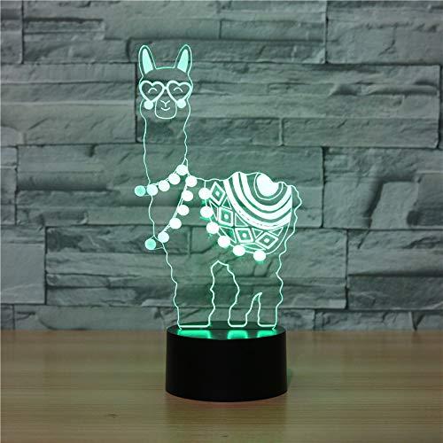3D Alpaka Optische Illusions-Lampen, Tolle 7 Farbwechsel Acryl berühren Tabelle Schreibtisch-Nachtlicht mit USB-Kabel für Kinder Schlafzimmer Geburtstagsgeschenke Geschenk