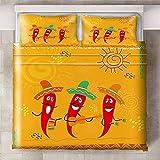 HYBWSO Funda de Edredón para 3D Chile Rojo Amarillo de Dibujos Animados Juego de Cama 100% Poliéster Suave Transpirable Cierre de Cremallera 200cmx200xm 2 Fundas De Almohada