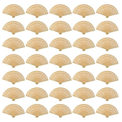 Wobe 60 Pack Sandalwood Fans- Baby Shower Gifts & Wedding Favors, Hand Held Folding Fans Wooden Openwork Personal Handheld Folding Fans for Wedding Party, Home Decorations Birthday Gift