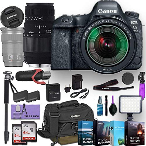 Canon EOS 6D Mark II DSLR Camera w/EF 24-105mm f/3.5-5.6 is STM Lens and Sigma 70-300mm f/4-5.6 DG Macro Lens Bundled with Deluxe Accessories (Pro Microphone, 4-Pack Photo Editing Software and More)
