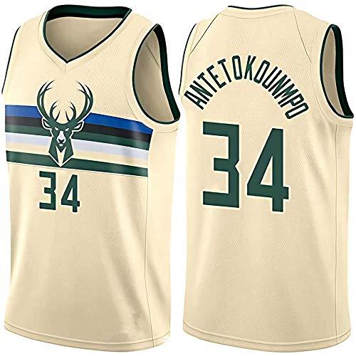 ZZH NBA Milwaukee Bucks #34 Giannis Antetokounmpo Sports NBA-Trikot Basketball Uniformen Für Erwachsene ärmellose Unisex-Trainingssportkleidung,Beige-XXL