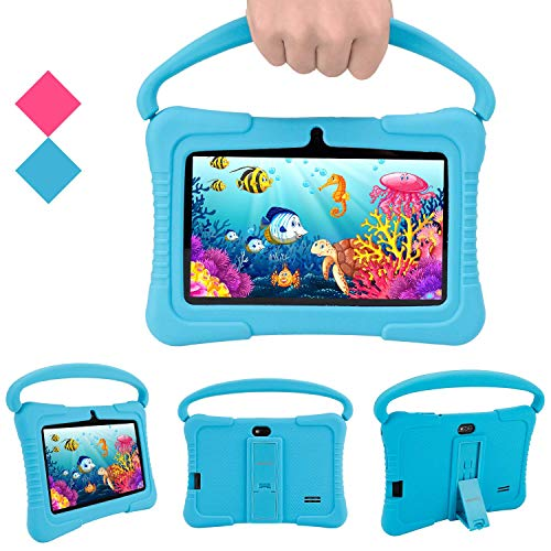 Kids Tablet, Veidoo 7 inch Android Tablet PC, 1GB RAM 16GB ROM, Safety Eye Protection Screen, WiFi, Bluetooth, Dual Camera, Educationl, Games, Parental Control APP, Tablet with Silicone Case (Blue)