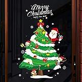 veyikdg Stickers Noel pour Fenêtre Geant Vitre Vitrine Muraux Merry Christmas Autocollant Joyeux Décoration De Noël Flocon De Neige Imperméable De Cerf Bricolage Vinyle Papie