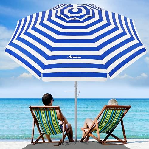 MOVTOTOP Sonnenschirm, 200cm Sonnenschirm Balkon mit Sandanker & Kippmechanismus Tragbarer UV 50+ Schutz Sonnenschirm Strand mit Tragetasche für Garten Strand Draussen