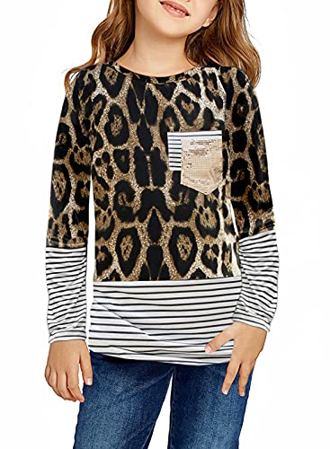 Dokotoo Girls Long Sleeve Sweatshirts Striped Leopard Camouflage Sweatshirt Sequin Pocket Pullover Shirts Tops for Teen Girls Leopard Size 8-9