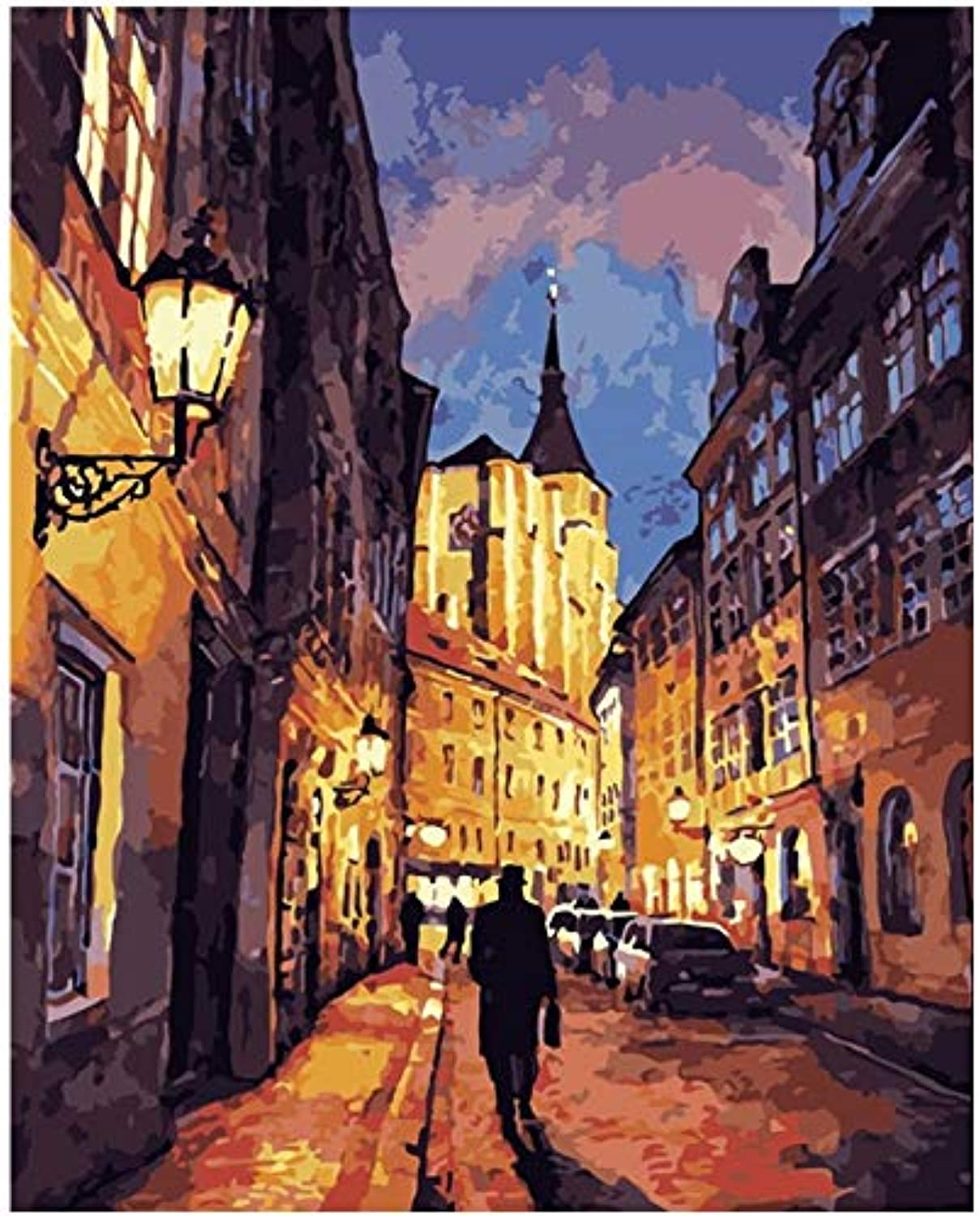 Tuwba Paint by Numbers Adult Kit City Night Scene Landscape Beginner Acrylic On Canvas,Framed 40X50Cm