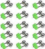 Fmlkic 15 cascabeles de pesca Twin Bells con clip de alarma para caña de pescar nocturna, accesorios de pesca con pinza de plástico, color verde