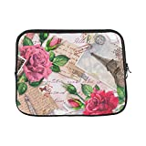 Design Custom Paris Eiffel Tower Flower Rose Feathers Sleeve Soft Laptop Case Bag Pouch Skin for MacBook Air 11'(2 Sides)
