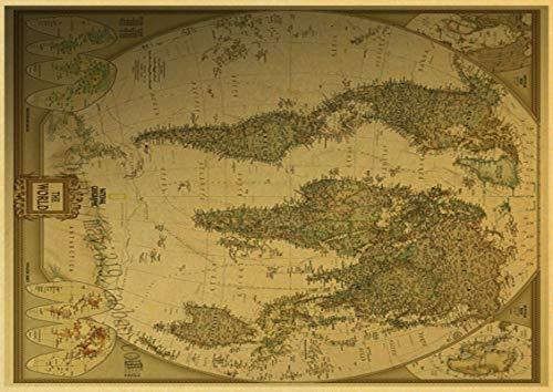 h-p Mapa del Mundo Vintage Lienzo Arte Pintura Al Óleo Cartel Decoración...