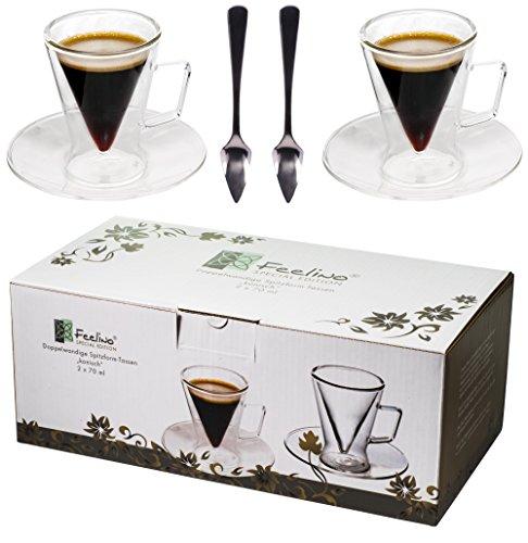 Spikey 2X 70ml doppelwandige Spitzglas-Tassen konisch + 2 SPITZLÖFFEL 18/10 - Tassen mit Henkel und Untersetzer für Ihren besonderen Espresso, by Feelino