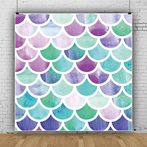 Laeacco Mermaid Scales Photo Backdrop 6.5x6.5ft Vinyl Photography Background Watercolor Fish Scale Safari Party Child Baby Adult Shoot Poster Marine Theme Girls Birthday Party Princess Baby Shower