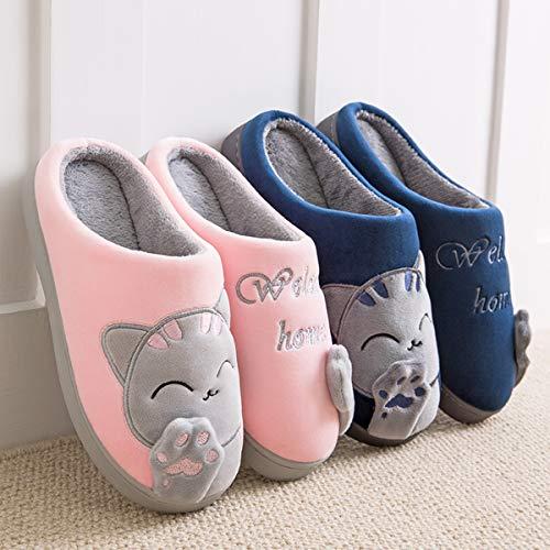 CELANDA Zapatillas de Casa para Mujer Hombre Cálido Zapatos de Estar Otoño Invierno Interior Casa Slippers Suave Algodón Zapatilla, C Azul,41/42 EU = 42/43 Talla Fabricante