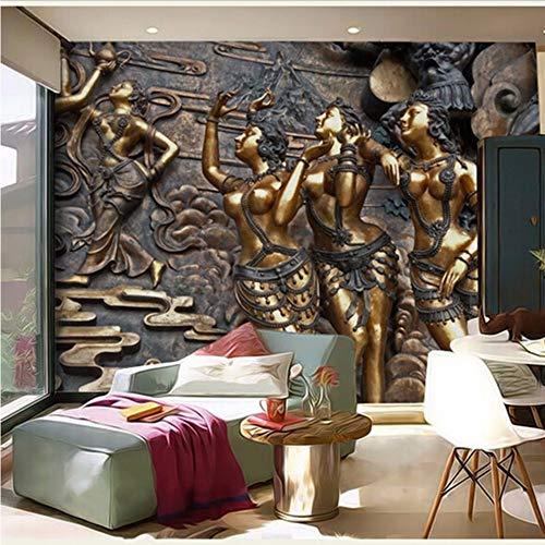 Weaeo 3D Gold Wandbilder Stereo Jade Mythos 3D Fototapete Goldene Tapete 3D Wandmalereien Für Wohnzimmer Kaffee Zimmer Bar Tapeten-400X280Cm