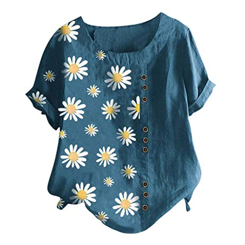 MRULIC Damen Leinenbluse Kurzarm Rundhals Drucken T-Shirt Tunika LäSsige Lose Sommer Basic Tops Seitliche Tasten Deco Pullover Geschenk Zum Muttertag(A9-Blau,M)
