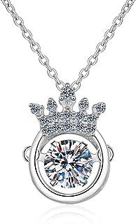 SecreTalk Moissanite Pendant Necklace 0.5CT 18K White Gold Plated Silver D Color Ideal Cut Diamond Necklace for Women with...