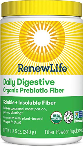 Renew Life Adult Daily Digestive Organic Prebiotic Fiber, Fiber Powder, 8.5 oz. (Package May Vary) (Package May Vary)