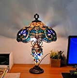 Lámpara de cristal de 4 luces W18 H24 pulgadas Tiffany, estilo libélula, luz nocturna para salón, dormitorio, antiguo, cómoda mesa de centro junto a la estantería de libros, E27 (46 x 60 cm)