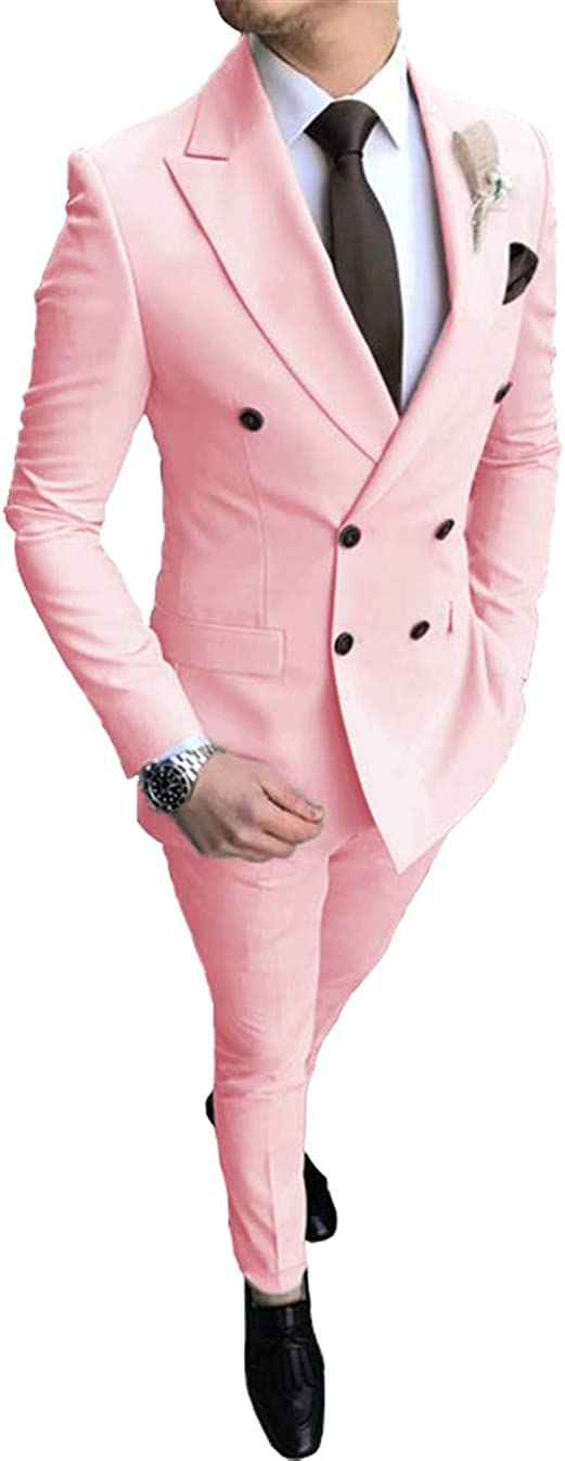 Men's Suit 2 Pieces Double Breasted Slim Fit Blazer Solid Prom Tuxedos Wedding Party Jacket & Pants