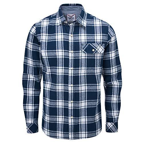 Charles Wilson Camicia di Flanella A Quadri Manica Lunga per Uomini (XL, Blue & White Check (0920))