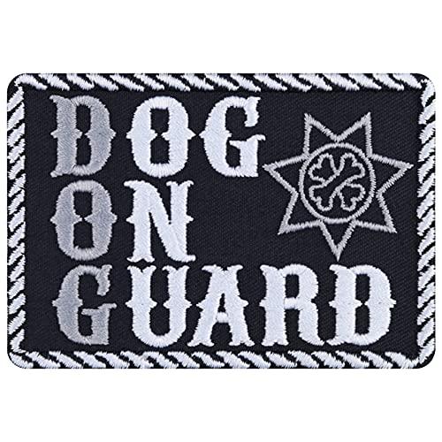 Parche de perro guardián con texto en inglés 'Dog On Guard', para planchar o hacer deporte, regalo para dueños de perros, aplicación para chaqueta/cuerda/vaqueros/pañuelo para el cuello 87 x 60 mm