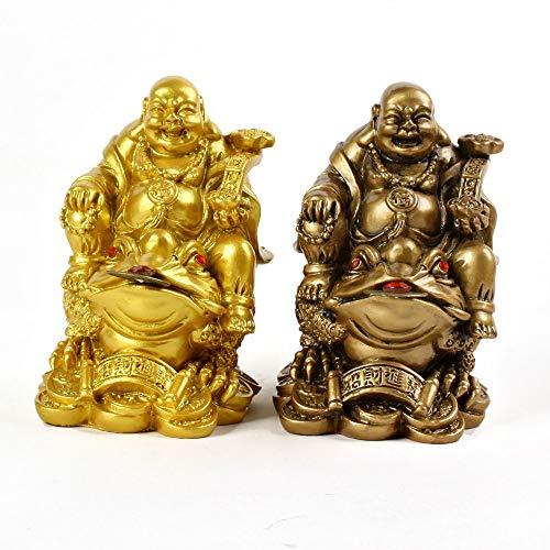 LIJIE Escultura de Resina Dorada Maitreya Buddha Statue Qianbao Maitreya Buddha Riding Golden Toad Statue (Paquete de 2)