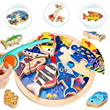 LUKAT Wooden Magnetic Fishing Game Toys for 3 4 5 Years Old Boys & Girls, 3 in 1 Learning Alphabet Fishing Jigsaw Puzzle Game with Magnet Poles, Early Learning Education Gift for Kids