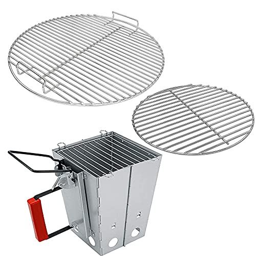 Uniflasy 7432 Cooking Grate, 7440 Charcoal Grate for Weber 18'/18.5 Inch Charcoal Grills, Fits Weber One-Touch Bar-B-Kettle, Smokey Mountain Cooker Smoker Original Kettle with Charcoal Chimney Starter