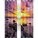 YUAZHOQI - Cortina de ventana tropical puesta de sol en el horizonte de la playa en la isla mágica idílica clima paisaje cortinas opacas para dormitorio de 132 x 213 cm, color lila