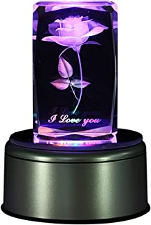 LIWUYOU Crystal 3D Rose Flower Colorful LED Light Rotating Musical Box Music Base for Girls and Women,Birthday Gift for Baby and Kids,Valentine's Day