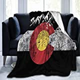 Carwayii Throw Blanket,Colorado Flag Vintage Mountain Flannel Lap Blanket Gifts for Adult Kids,Cozy Noon Break Blanket,No Shedding Fleece Sofa Blanket for Office Couch Car - 40''x50''