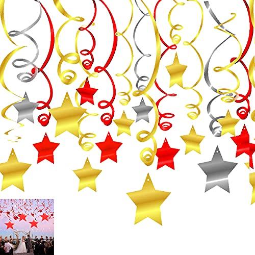 Osuter Remolinos Colgantes,36PCS Remolinos Decoración PVC Espirales Fiesta Estrella Adorno Espiral para Decoraciones de Fiesta Cumpleaños Carnaval(Rojo/Dorado/Plata)