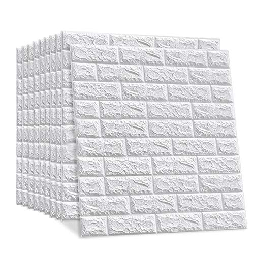 LEISIME 3D Wall Sticker Self-Adhesive Wall Panels Waterproof PE Foam White Wallpaper for Living Room TV Wall and Home Decor (Brick 10 Pack - 58 Sq Ft)