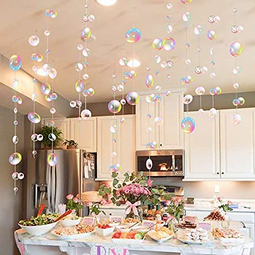 Transparent Bubble Garlands Mermaid Party Decoration Colored Blue Flat Cutouts Hanging Streamer for Birthday Baptism Wedding Ocean Wall Decal Baby Shower Under Sea Festal Kid Room Photo Props (Color)