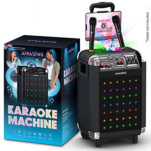 small size Karaoke machine for adults and children, portable bluetooth speaker For singing + 2 wireless double microphones + LED and disco light + TV and additional cable.The best Christmas and birthday gifts for boys and girls