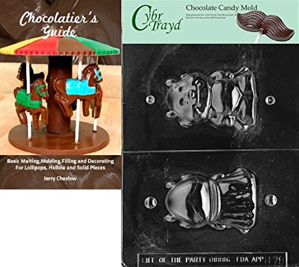 25 Happy Halloween Twist Ties and Chocolatiers Guide CybrtraydLittle Devil 3D Chocolate Mold with Chocolatiers Bundle Includes 25 Cello Bags