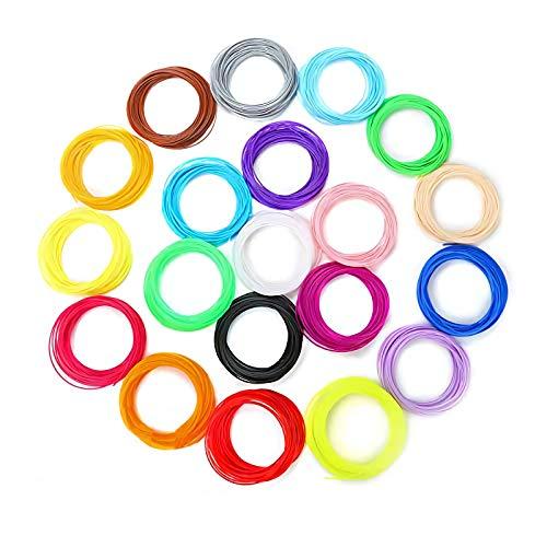 3D Pluma/Impresora Filamento Rellenar PLA - 20 Colores, 328 Pies Lineales (100M) , Biocompatible y No Tóxico, Sin Olor, Sin Humo Bajo...