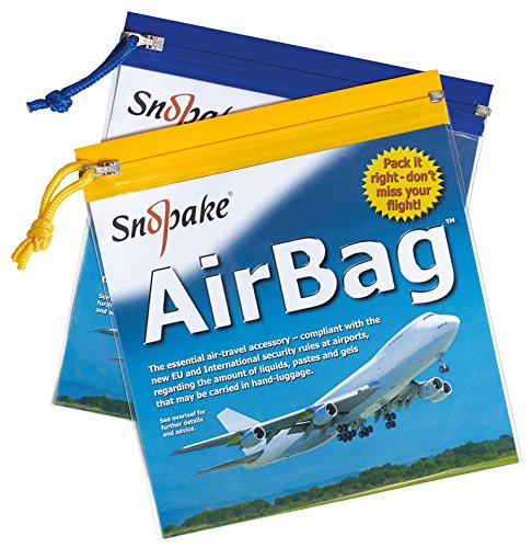 Snopake Flight AirBag Zippa-Bag with Zip Pull and Hanging Loop [Pack of 5] 200 x 200 mm – Clear/Assorted Blue & Yellow Zip Strips [Ref: 15158]