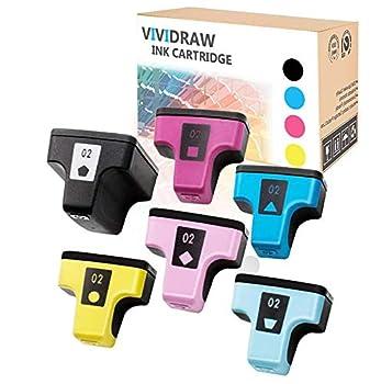 VIVIDRAW 6 Pieces of HP 02 Compatible Ink cartridges Replacement for HP Photosmart C5180 C7280 C6280 C6180 D7360 D7460 8250 C7200 C7283 Printer