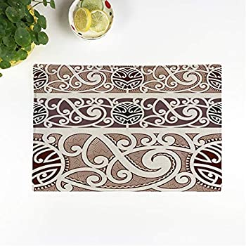 rouihot Set of 4 Placemats Brown Tattoo Maori Styled Pattern Polynesian Tribal Wave Armband Non-Slip Doily Place Mat for Dining Kitchen Table
