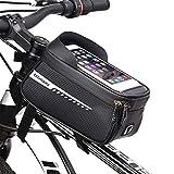 ROSEBEAR Bolsa de Manillar Soporte para Teléfono de Bicicleta Bolsa de Cuadro de Bicicleta Impermeable Bolsa de Bicicleta Bolsa de Almacenamiento de Tubo Superior Frontal para Ciclismo