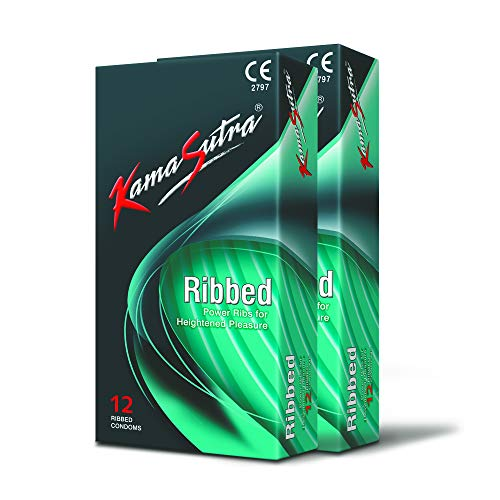 Kama Sutra Ribbed Lubricated Natural latex Condoms For Men Count 24