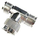 Liberty CB Accessories 48437 CB Radio UHF 'T' Coax Cable Connector (Female-Male-Female)