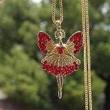 lonfenner Collar Suéter,Romántico Angel Doll Colgante Collar Cristal Brillante Señoras Joyas Angel Collar Cadena Suéter Parte Collar Rojo
